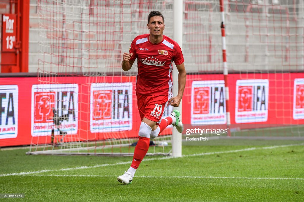 Damir Kreilach of 1 FC Union Berlin celebrates after scoring the 1:0 during the game between Union Berlin and the Queens Park Rangers on july 24, 2017 in Berlin, Germany.