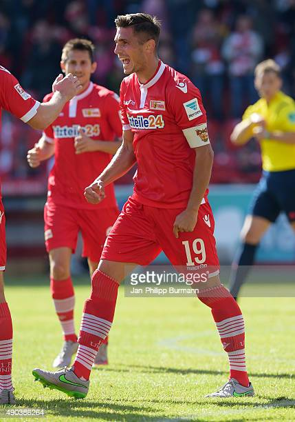 Damir Kreilach of 1 FC Union Berlin celebrates after scoring the 30 during the game between Union Berlin and MSV Duisburg on september 26 2015 in...