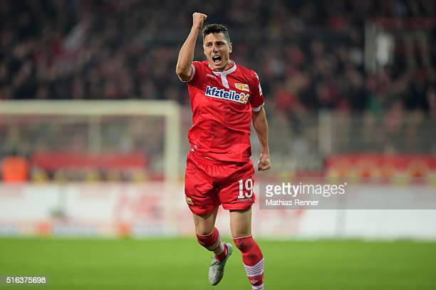 Damir Kreilach of 1 FC Union Berlin celebrates during the game between Union Berlin and Eintracht Braunschweig on march 18 2016 in Berlin Germany