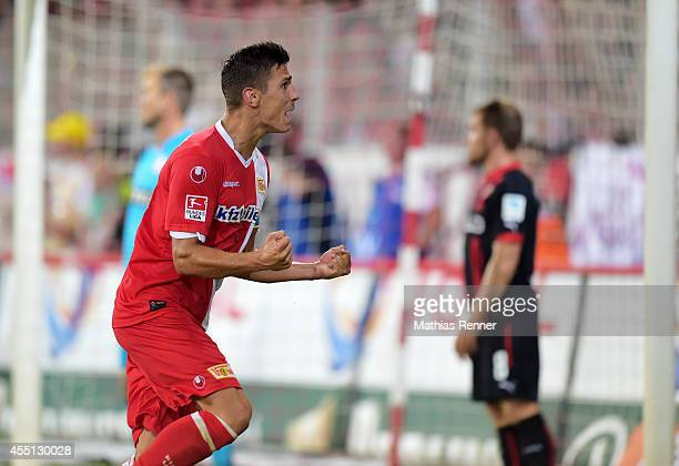 Damir Kreilach of 1 FC Union Berlin celebrates the 11 during the game between 1 FC Union Berlin and Fortuna Duesseldorf on august 8 2014 in Berlin...