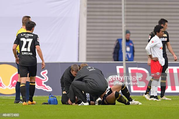 Damir Kreilach of 1 FC Union Berlin is verletzt during the game between RB Leipzig and 1 FC Union Berlin on March 1 2015 in Leipzig Germany