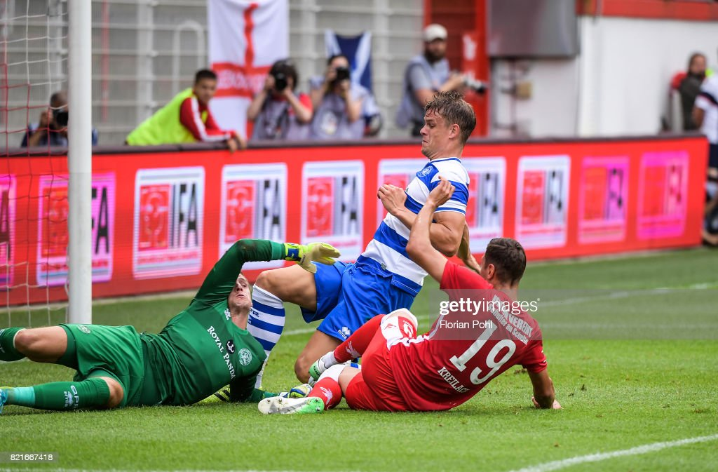 Damir Kreilach of 1 FC Union Berlin shoots the goal to 1:0 during the game between Union Berlin and the Queens Park Rangers on july 24, 2017 in Berlin, Germany.