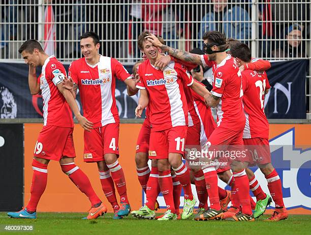 Damir Kreilach, Roberto Puncec, Maximilian Thiel and Christopher Trimmel of 1 FC. Union Berlin celebrate after scoring the 2:0 during the game...