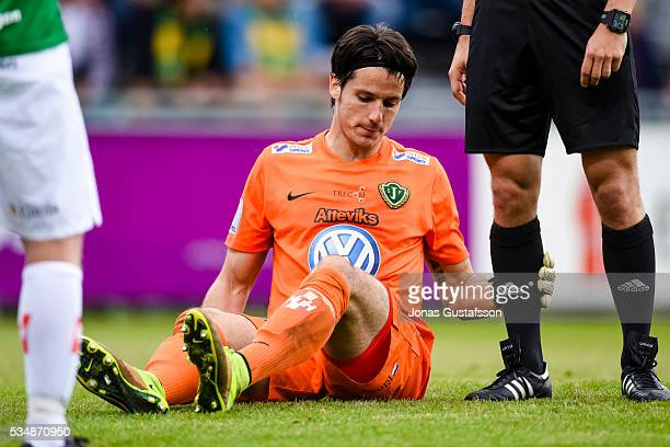 Damir Mehic goaltender of Jonkopings Sodra reacts during the allsvenskan match between Jonkopings Sodra IF and GIF Sundsvall at Stadsparksvallen on...