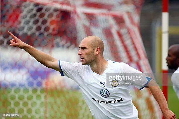Damir Vrancic of Braunschweig celebrates after scoring 2-0 during the Third League match between SSV Jahn Regensburg v Eintracht Braunschweig at Jahn...
