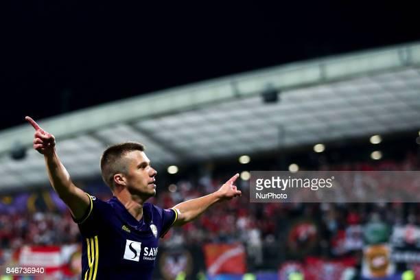 Damjan Bohar of NK Maribor celebrate goal during the UEFA Champions League Group E match between NK Maribor and Spartak Moskva at Stadion Ljudski Vrt...