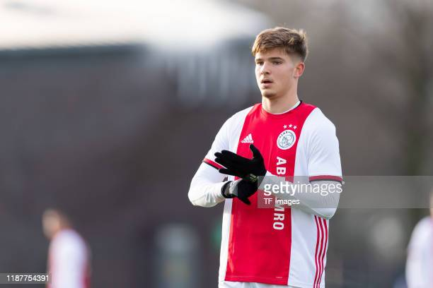 Damjan Dostanic of Ajax Amsterdam U19 looks on during the UEFA Youth League match between Ajax Amsterdam U19 and FC Valencia U19 on December 10 2019...
