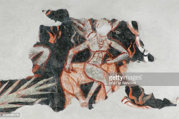 Damned detail from Hell fresco on the counterfacade church of San Michele al Pozzo Bianco Bergamo Lombardy Italy 12th13th century
