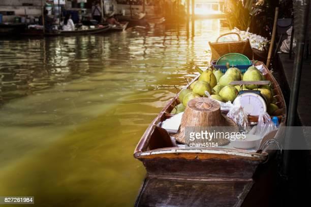 Damnoen Saduak floating market in Ratchaburi near Bangkok, Thailand. Old style Thai culture lifestyle.
