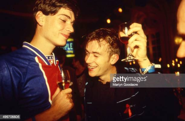 Damon Albarn and Alex James of Blur at the Mercury Music Prize London United Kingdom 1994