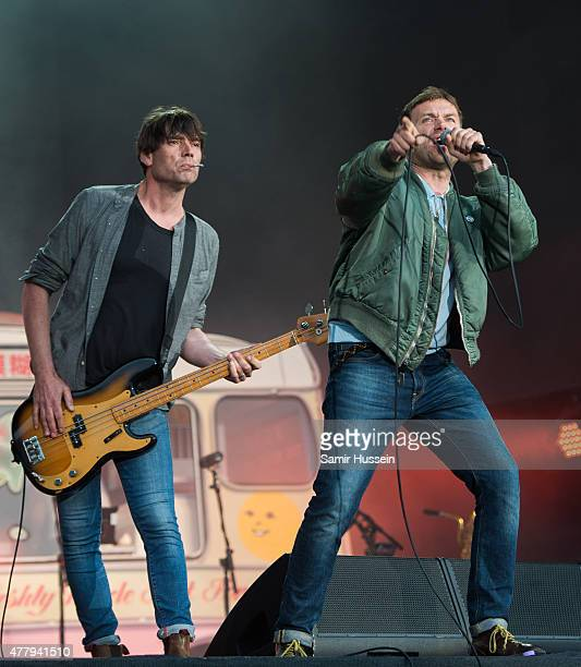 Damon Albarn and Alex James of Blur perform live at the British Summer Time 2015 at Hyde Park on June 20 2015 in London England