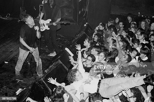 Damon Albarn and Alex James performing with English pop group Blur at the Marquee New York City 1st November 1991
