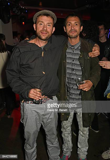 Damon Albarn and Dan Macmillan attend the Massive Attack after party at 100 Wardour St following their performance at the Barclaycard British Summer...