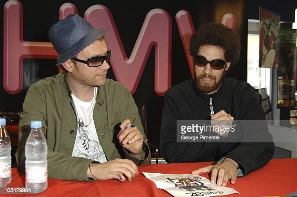 Damon Albarn and DJ Danger Mouse during Gorizllaz InStore CD Signing at HMV in Toronto May 28 2005 at HMV Store in Toronto Ontario Canada