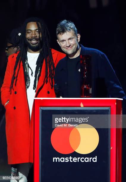 AWARDS 2018 *** Damon Albarn and Gorillaz accept the Best British Group award at The BRIT Awards 2018 held at The O2 Arena on February 21 2018 in...