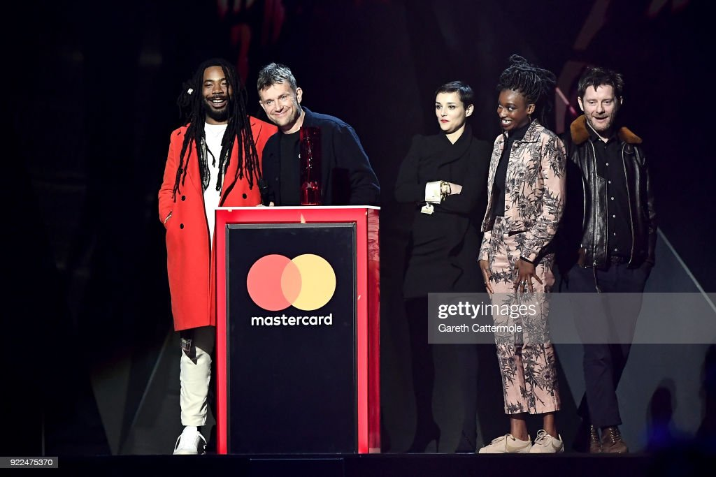 Damon Albarn and Gorillaz, winner of the British Group award, on stage at The BRIT Awards 2018 held at The O2 Arena on February 21, 2018 in London, England.