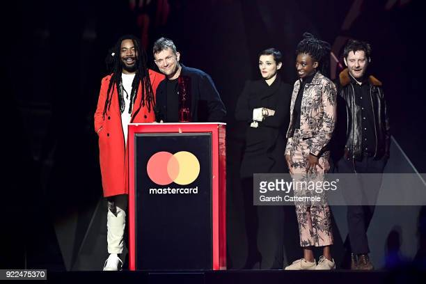 AWARDS 2018 *** Damon Albarn and Gorillaz winner of the British Group award on stage at The BRIT Awards 2018 held at The O2 Arena on February 21 2018...
