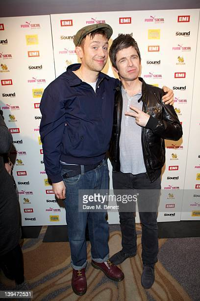 Damon Albarn and Noel Gallagher attend The EMI Puma Cobra post BRIT awards party at the O2 on February 21 2012 in London England