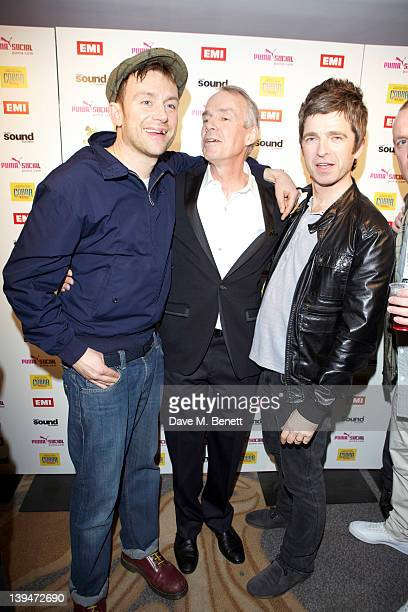 Damon Albarn CEO of EMI Roger Faxon and Noel Gallagher attend The EMI Puma Cobra post BRIT awards party at the O2 on February 21 2012 in London...