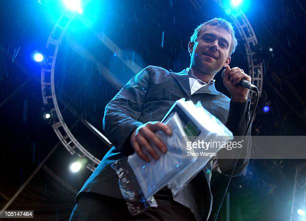 Damon Albarn of Blur during Field Day Music Festival 2003 Show and Backstage at Giants Stadium in East Rutherford New Jersey United States