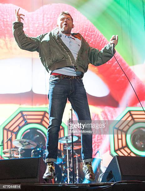 Damon Albarn of Blur performing on stage at IOW Festival at Seaclose Park on June 13 2015 in Newport United Kingdom