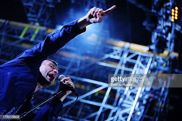 Damon Albarn of Blur performs at Ippodromo delle Capannelle as a part of Postepay Rock In Roma on July 29 2013 in Rome Italy