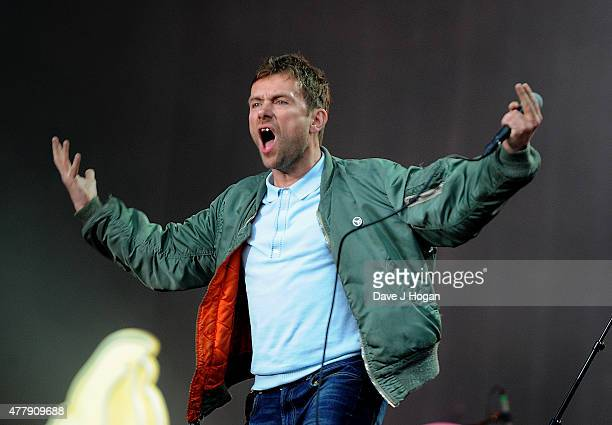 REQUIRED Damon Albarn of Blur performs at the British Summer Time 2015 at Hyde Park on June 20 2015 in London England