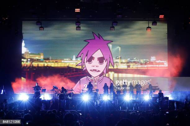 Damon Albarn of Gorillaz perform onstage during Day 2 at The Meadows Music Arts Festival at Citi Field on September 16 2017 in New York City