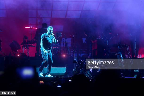 Damon Albarn of Gorillaz performs in concert on the third day of week one of the Austin City Limits Music Festival at Zilker Park on October 8 2017...
