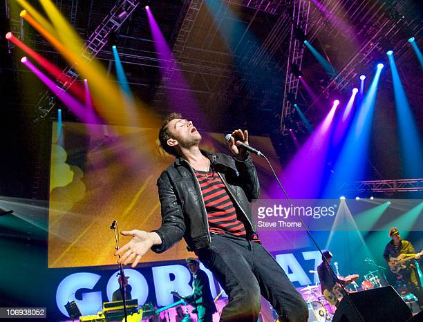 Damon Albarn of Gorillaz performs on stage at National Indoor Arena on November 17 2010 in Birmingham England