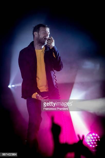 Damon Albarn of Gorillaz performs on stage during Lucca Summer Festival at Piazza Napoleone on July 12 2018 in Lucca Italy