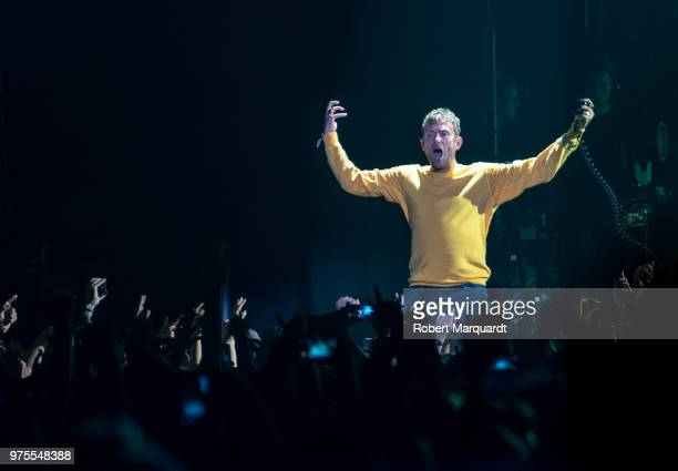 Damon Albarn of Gorillaz performs on stage for the 25th Sonar Musical Festival held at the Gran Via 2 on June 15 2018 in Barcelona Spain