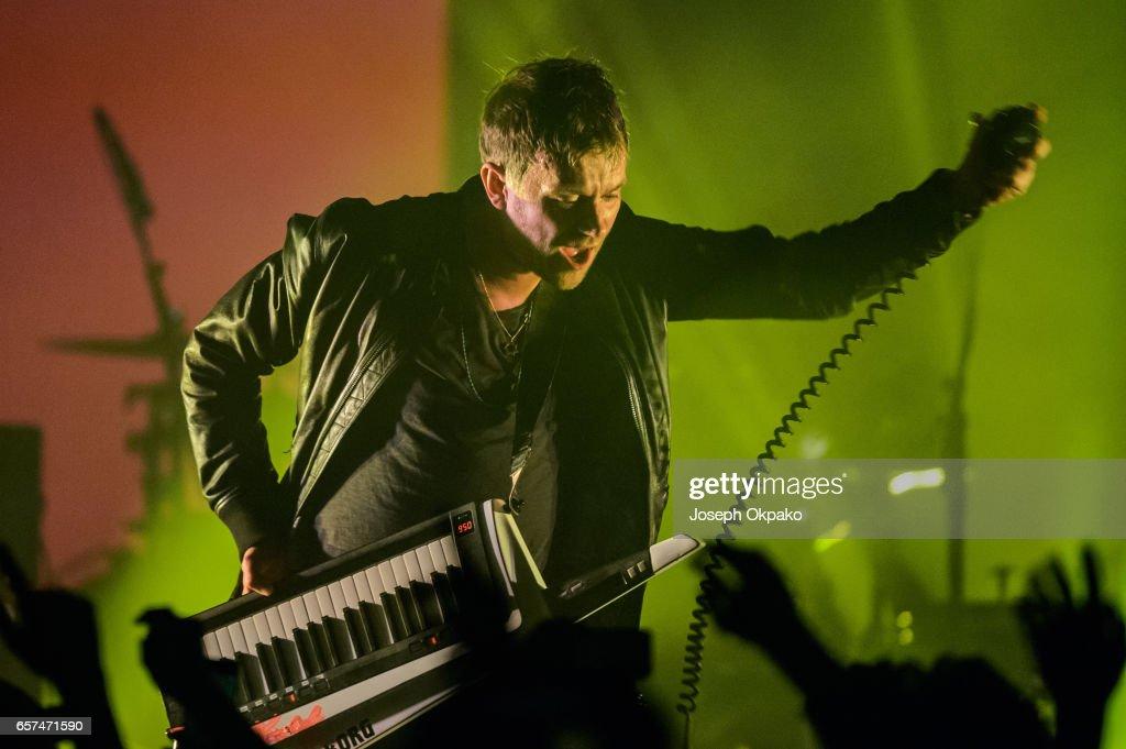 Damon Albarn of Gorillaz performs the new album 'Humanz' live on March 24, 2017 in London, United Kingdom.