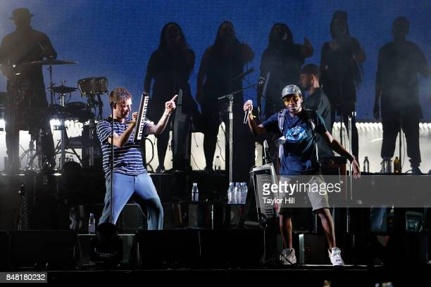 Damon Albarn of Gorillaz performs with Del the Funky Homosapien onstage during Day 2 at The Meadows Music Arts Festival at Citi Field on September 16...