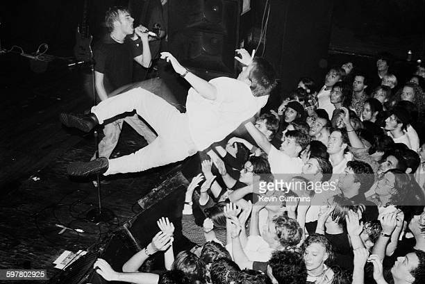 Damon Albarn performing with English pop group Blur at the Marquee New York City 1st November 1991