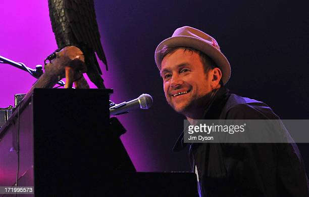 Damon Albarn performs with Bobby Womack on the West Holts stage during day 4 of the 2013 Glastonbury Festival at Worthy Farm on June 30 2013 in...