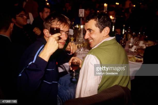 Damon Albarn singer with Blur with actor Phil Daniels at the NME Awards London United Kingdom 1994
