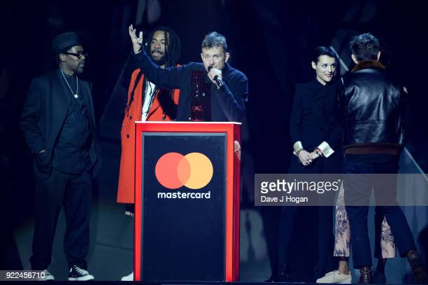 AWARDS 2018 *** Damon Albarn with Gorillaz winners of British Group speak on stage at The BRIT Awards 2018 held at The O2 Arena on February 21 2018...