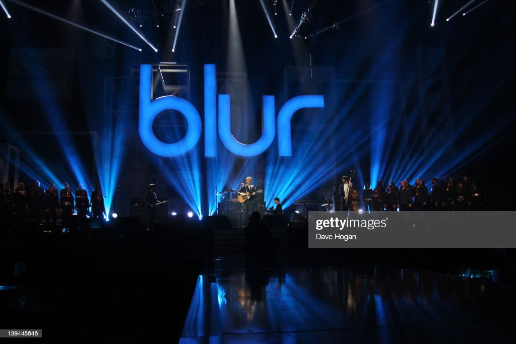 Damon Albran, Graham Coxon, Dave Rowntree and Alex James of Blur perform at rehearsals for The Brit Awards 2012 at The O2 Arena on February 21, 2012 in London, England.