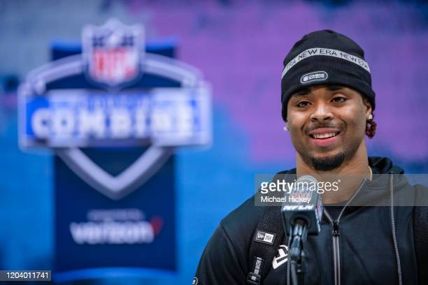 Damon Arnette #DB01 of the Ohio State Buckeyees speaks to the media on day four of the NFL Combine at Lucas Oil Stadium on February 28 2020 in...