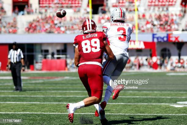 Damon Arnette of the Ohio State Buckeyes intercepts the ball during the third quarter in the game against the Indiana Hoosiers at Memorial Stadium on...
