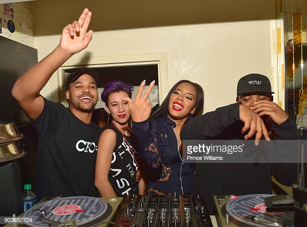 """Damon """"Boogie"""" Dash, Angela Simmons and TJ Mizell attends the ATL Premiere Of WE Tv's """"Growing Up Hip Hop"""" after party at Whiskey Park at W Atlanta -..."""