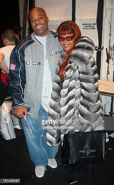 Damon Dash and Misa HiltonBrim during MercedesBenz Fashion Week Fall 2003 Collections Baby Phat Front Row and Backstage at Bryant Park in New York...