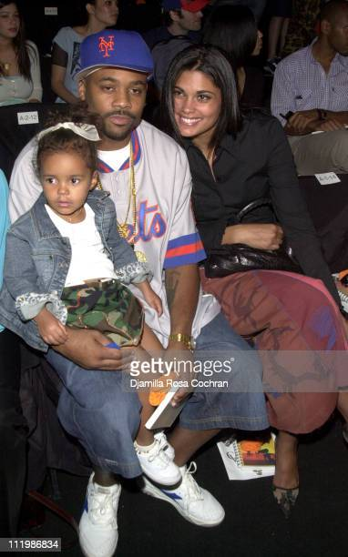Damon Dash Eva and Rachel during MercedesBenz Fashion Week Spring Collections 2003 Baby Phat Front Row at Bryant Park in New York City New York...
