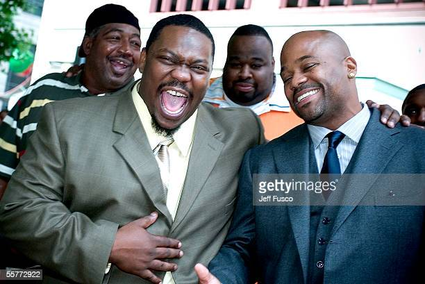 Damon Dash Music Group recording artist, Beanie Sigel and DDMG CEO, Damon Dash , laugh as they stand outside the Criminal Justice building following...