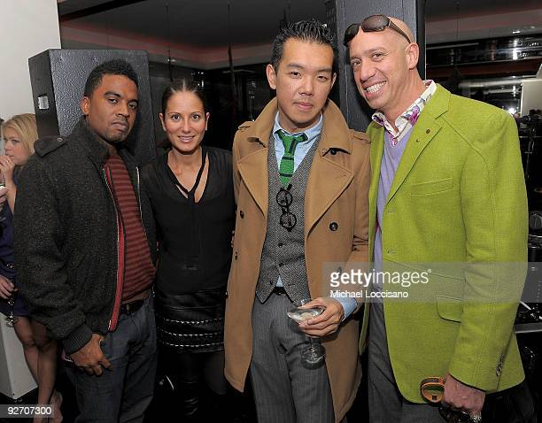 Damon Degraff guest Jim Shi and stylist Robert Verdi attend the Mr Chow 30th Anniversary Celebration at the Mr Chow on November 3 2009 in New York...