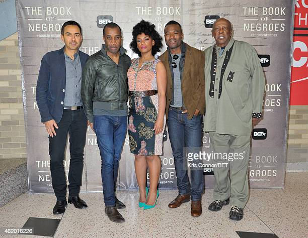 Damon D'Oliveira Clement Virgo Aunjanue Ellis Lyriq Bent and Louis Gossett Jr attend 'The Book of Negroes' sceening at Dunbar High School on January...