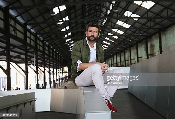 Damon Downey wears JBrand jeans Jac and Jac shirt GStar jacket and Nike shoes at MercedesBenz Fashion Week Australia 2015 at Carriageworks on April...