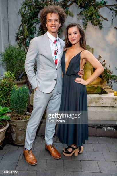 Damon Gillespie and Grace Aki attend The Cinema Society with OWN host the 'Queen Sugar' garden cocktail party at Laduree Soho on May 20 2018 in New...