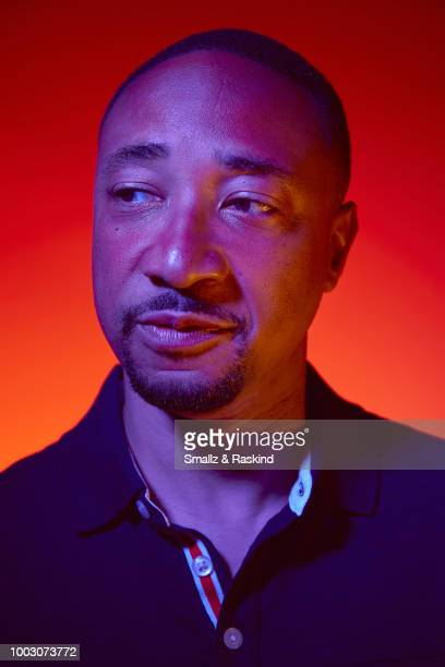 Damon Gupton from CW's 'Black Lightning' poses for a portrait at the Getty Images Portrait Studio powered by Pizza Hut at San Diego 2018 Comic Con at...